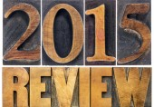 '2015 Review' in wood letters, looking back at 2015, changes in microsoft exchange, Ricketts Corporation